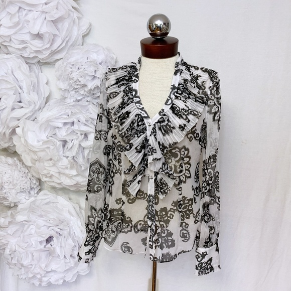 White House Black Market Tops - WHBM sheer ruffle front printed top 6